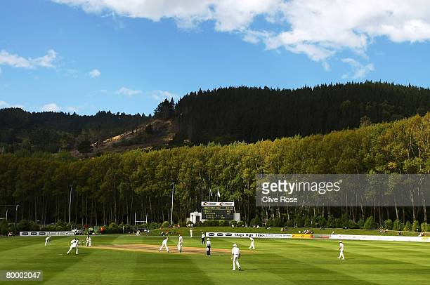 A general view of play during day two of the warm up match between a New Zealand Invitational XI and England at the University Oval on February 26...