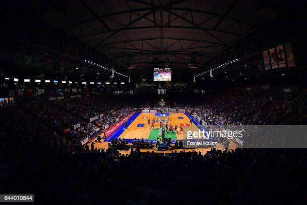 A general view of play during game three of the NBL Semi Final series between the Adelaide 36ers and the Illawarra Hawks at Titanium Security Arena...
