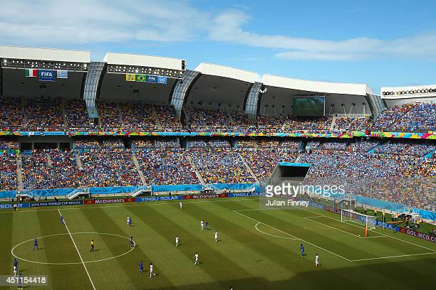 A general view of play during the 2014 FIFA World Cup Brazil Group D match between Italy and Uruguay at Estadio das Dunas on June 24 2014 in Natal...