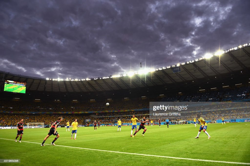 A general view of play during the 2014 FIFA World Cup Brazil Semi Final match between Brazil and Germanyat Estadio Mineirao on July 8, 2014 in Belo Horizonte, Brazil.