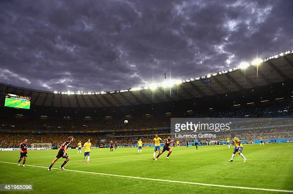A general view of play during the 2014 FIFA World Cup Brazil Semi Final match between Brazil and Germanyat Estadio Mineirao on July 8 2014 in Belo...