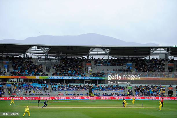A general view of play during the 2015 Cricket World Cup match between Australia and Scotland at Bellerive Oval on March 14 2015 in Hobart Australia