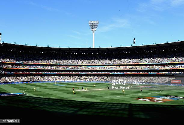 A general view of play during the 2015 ICC Cricket World Cup final match between Australia and New Zealand at Melbourne Cricket Ground on March 29...