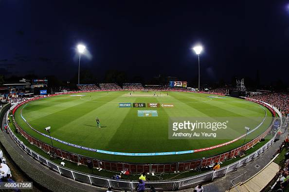 General view of play during the 2015 ICC Cricket World Cup match between Bangladesh and New Zealand at Seddon Park on March 13 2015 in Hamilton New...