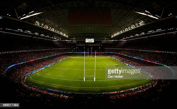 A general view of play during the 2015 Rugby World Cup Pool A match between Wales and Uruguay at Millennium Stadium on September 20 2015 in Cardiff...