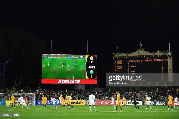 A general view of play during the 2018 FIFA World Cup Qualifier match between the Australian Socceroos and Saudi Arabia at the Adelaide Oval on June...