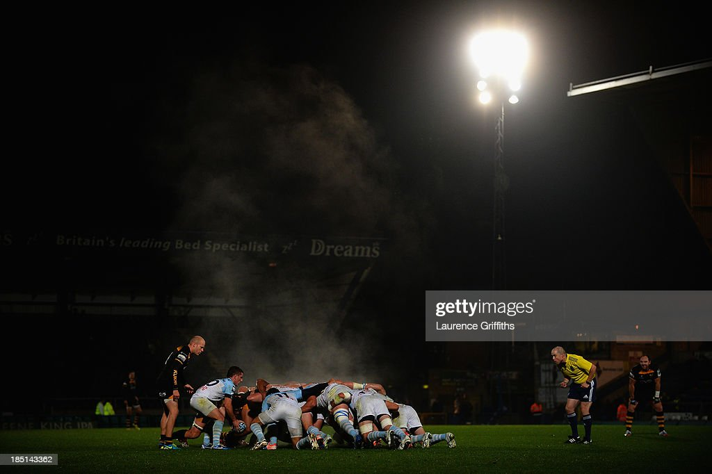 A general view of play during the Amlin Challenge Cup round two match between London Wasps and Bayonne at Adams Park on October 17, 2013 in High Wycombe, England.