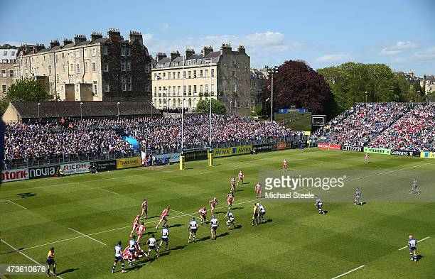 General view of play during the Aviva Premiership match between Bath Rugby and Gloucester Rugby at the Recreation Ground on May 16 2015 in Bath...