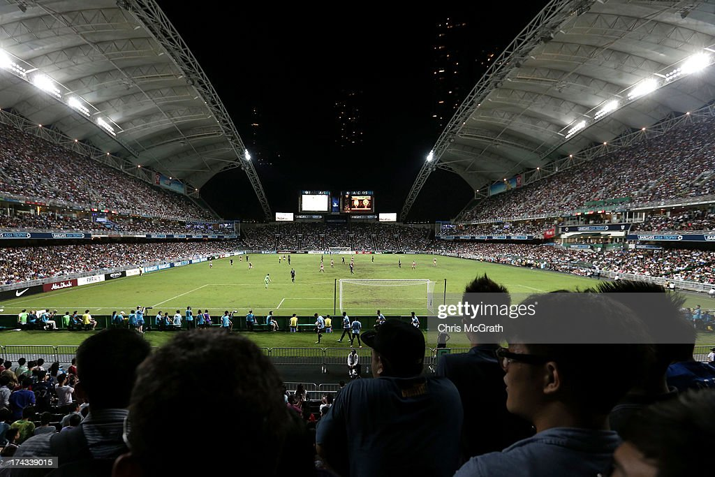 A general view of play during the Barclays Asia Trophy Semi Final match between Manchester City and South China at Hong Kong Stadium on July 24 2013...