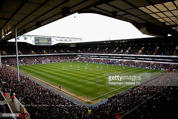 A general view of play during the Barclays Premier League match between Tottenham Hotspur and Manchester United at White Hart Lane on April 10 2016...