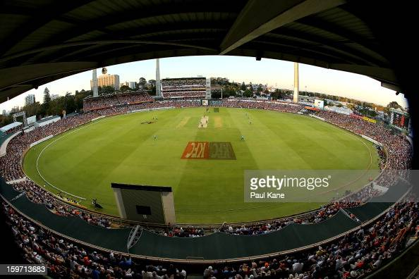A general view of play during the Big Bash League final match between the Perth Scorchers and the Brisbane Heat at the WACA on January 19 2013 in...