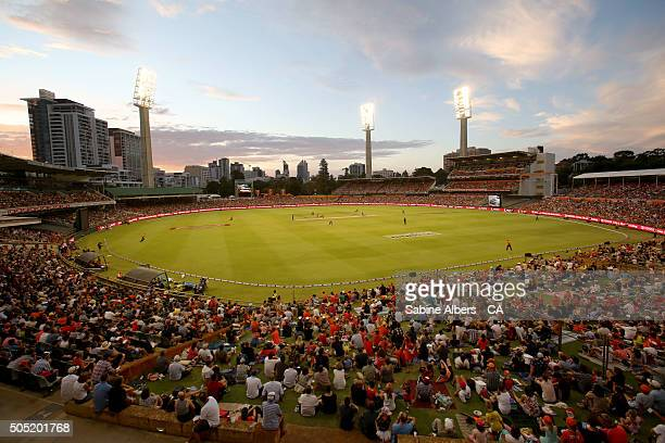 A general view of play during the Big Bash League match between the Perth Scorchers and the Melbourne Stars at WACA on January 16 2016 in Perth...