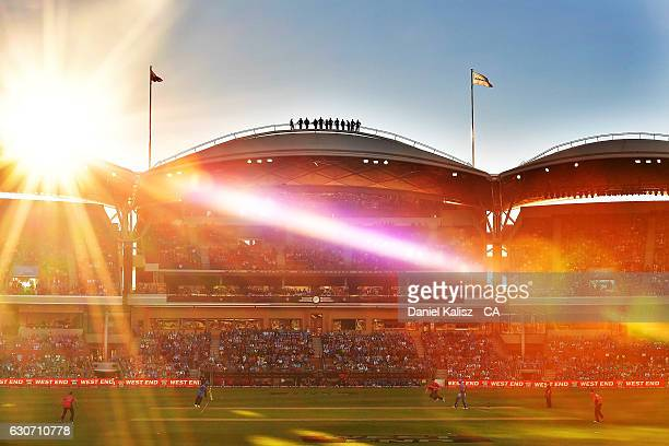 A general view of play during the Big Bash League match between the Adelaide Strikers and Sydney Sixers at Adelaide Oval on December 31 2016 in...