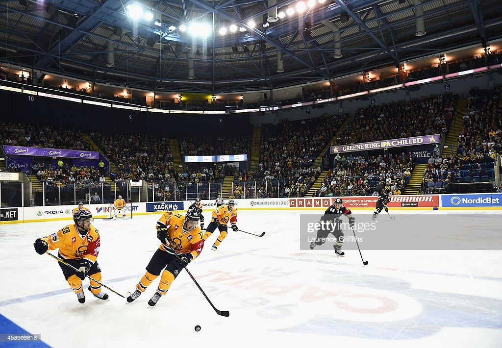 A general view of play during the Champions Hockey League group stage game between Nottingham Panthers and Lukko Rauma on August 22, 2014 in Nottingham, England.
