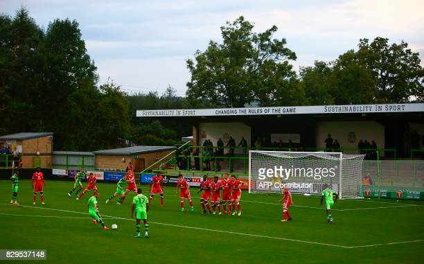 A general view of play during the EFL Cup football match between Forest Green Rovers and MK Dons at The New Lawn stadium in Nailsworth western...