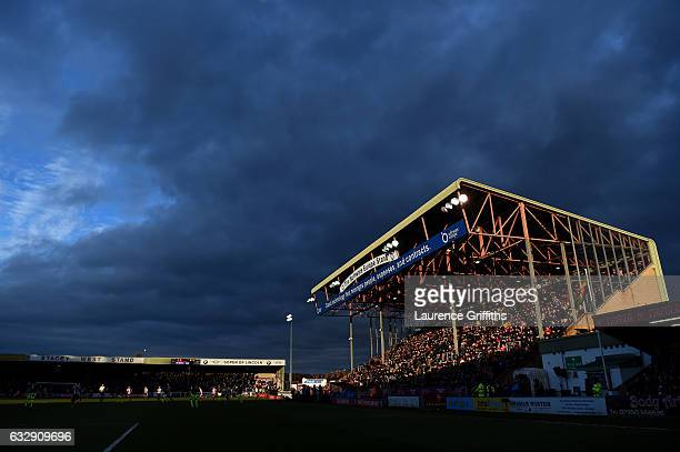 A general view of play during The Emirates FA Cup Fourth Round match between Lincoln City and Brighton and Hove Albion at Sincil Bank Stadium on...