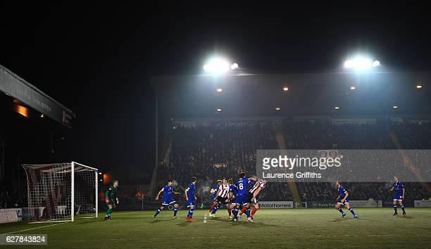 A general view of play during the Emirates FA Cup Second Round match between Lincoln City and Oldham Athletic at Sincil Bank Stadium on December 5...