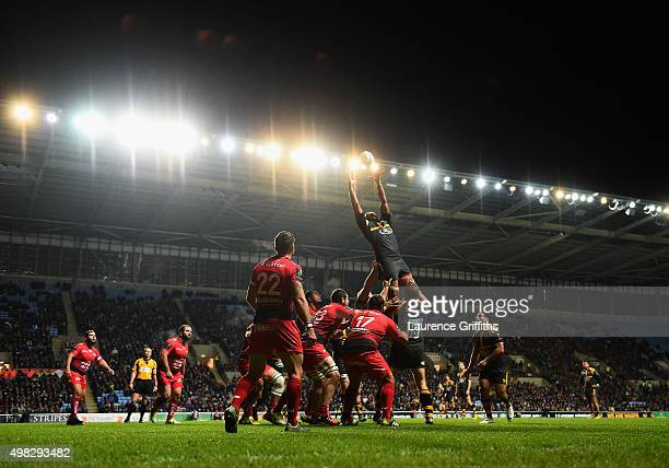A general view of play during the European Rugby Champions Cup match between Wasps and Toulon at Ricoh Arena on November 22 2015 in Coventry England
