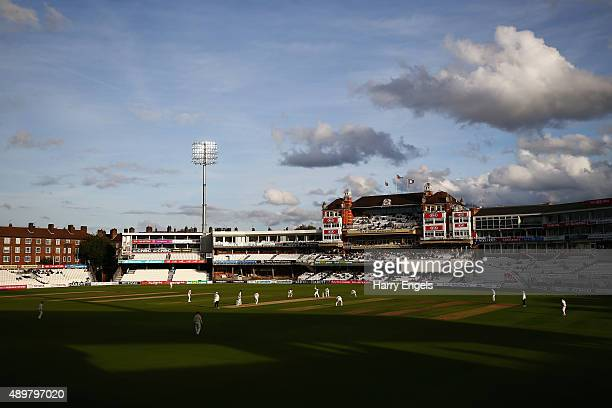 A general view of play during the evening session on day three of the LV County Championship Division Two match between Surrey and Northamptonshire...
