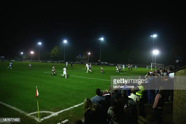 General view of play during the FA Cup First Round match between Shortwood United and Port Vale at Meadowbank Stadium on November 11 2013 in...