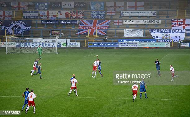 A general view of play during the FA Cup sponsored by Budweiser First Round match between Halifax Town and Charlton Athletic at the Shay on November...