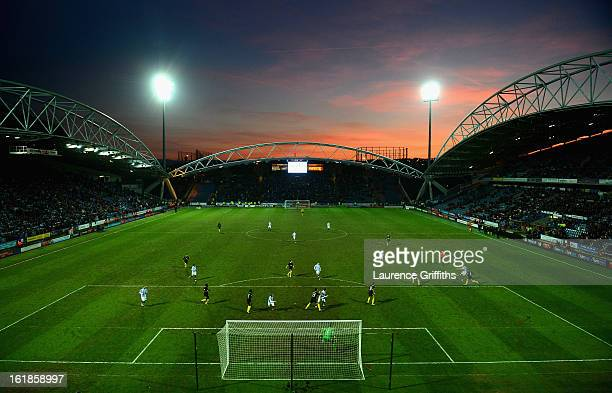 A general view of play during the FA Cup with Budweiser Fifth Round match between Huddersfield Town and Wigan Athletic at John Smith's Stadium on...
