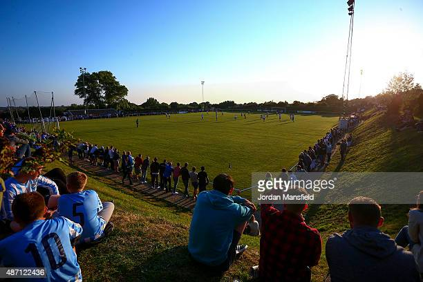 A general view of play during the FA Vase match between Worthing United FC and East Preston FC at Worthing United Football Club on September 6 2015...