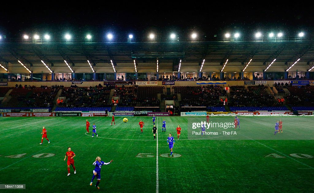 A general view of play during the FA WSL Continental Cup match between Liverpool Ladies FC v Everton Ladies FC at the Halton Stadium on March 23 2012...