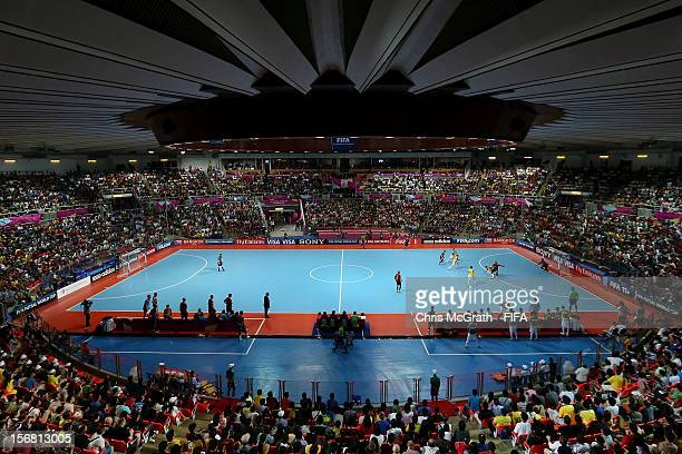 A general view of play during the FIFA Futsal World Cup Final between Spain and Brazil at Indoor Stadium Huamark on November 18 2012 in Bangkok...