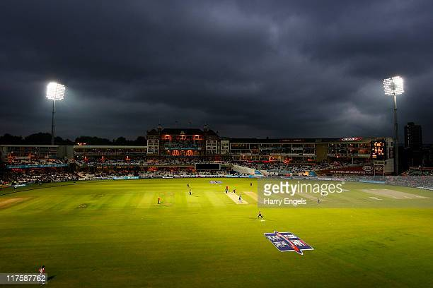 A general view of play during the first Natwest One Day International between England and Sri Lanka at The Kia Oval on June 28 2011 in London United...