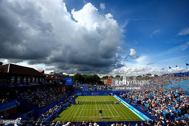 A general view of play during the first round match against Juan Martin del Potro of Argentina and John Isner of the USA during day three of the...