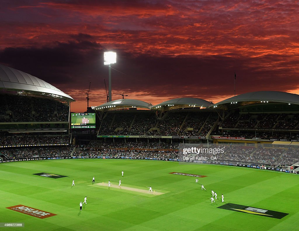 A general view of play during the firt sunset of a day/night test match during day one of the Third Test match between Australia and New Zealand at...