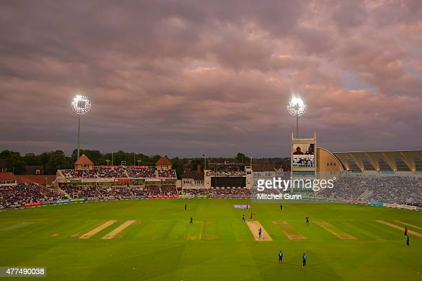 A general view of play during the fourth ODI Royal London OneDay Series 2015 between England and New Zealand at Trent Bridge Cricket Ground on June...