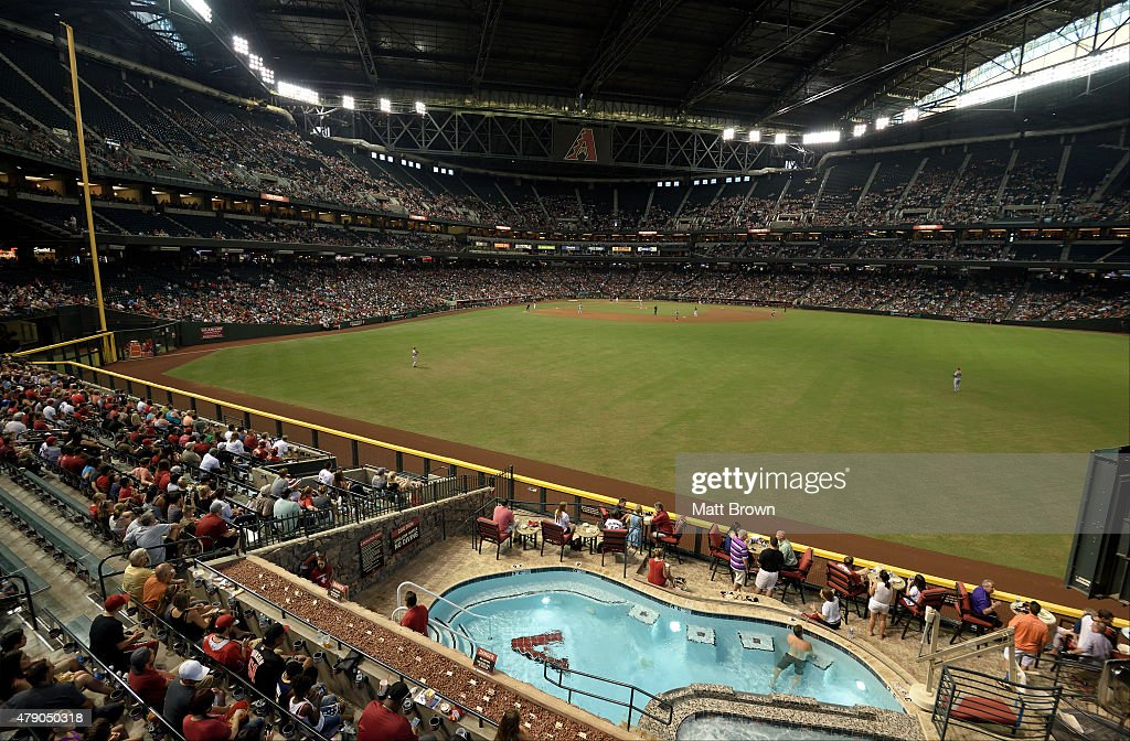 A general view of play during the game between the Arizona Diamondbacks and the Los Angeles Angels of Anaheim at Chase Field on June 17 2015 in...