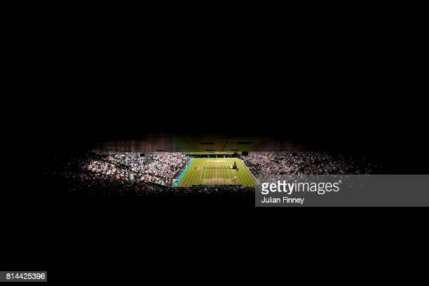 A general view of play during the Gentlemen's Singles semi final match between Sam Querrey of The United States and Marin Cilic of Croatia on day...