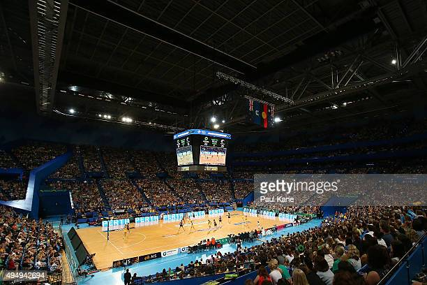 A general view of play during the International Test Match between the Australian Diamonds and the New Zealand Silver Ferns at Perth Arena on October...