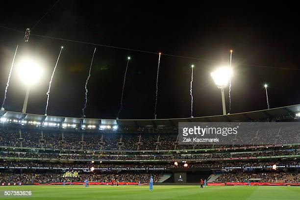 A general view of play during the International Twenty20 match between Australia and India at Melbourne Cricket Ground on January 29 2016 in...