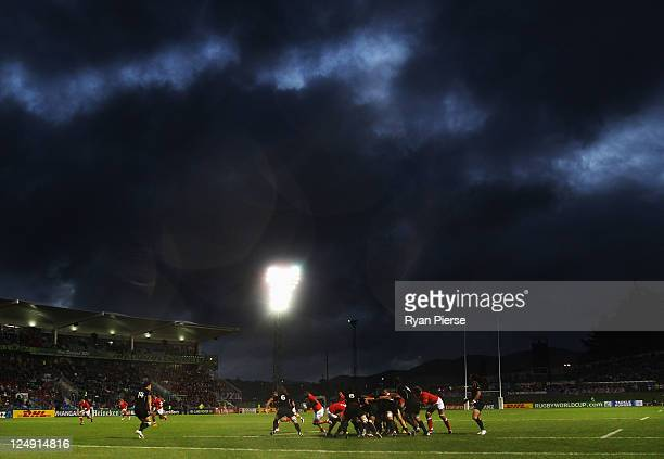 A general view of play during the IRB 2011 Rugby World Cup Pool A match between Tonga and Canada at Northland Events Centre on September 14 2011 in...