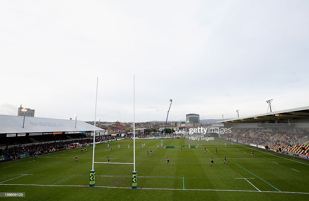A general view of play during the LV= Cup round two match between Newport Gwent Dragons and Northampton Saints at Rodney Parade on November 18 2012...