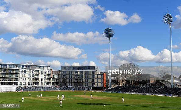 General view of play during the MCC Univesity Match between Gloucestershire and Durham MCCU at the County Ground on March 31 2016 in Bristol England