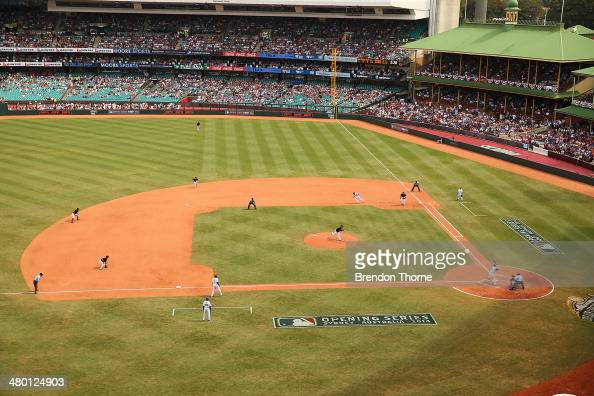 A general view of play during the MLB match between the Los Angeles Dodgers and the Arizona Diamondbacks at Sydney Cricket Ground on March 23 2014 in...