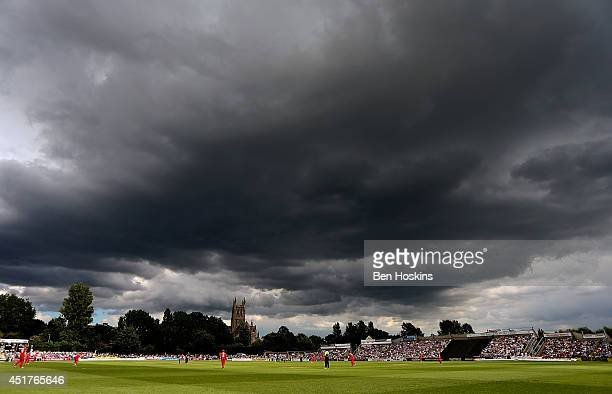 A general view of play during the Natwest T20 Blast match between Worcestershire Rapids and Lancashire Lightning at New Road on July 6 2014 in...