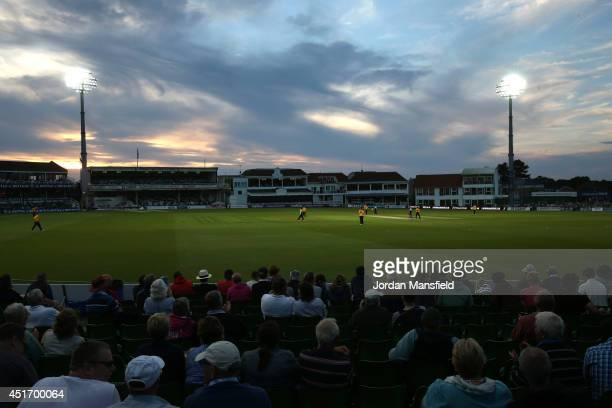 A general view of play during the Natwest T20 Blast match between Kent Spitfires and Hampshire at St Lawrence Ground on July 4 2014 in Canterbury...
