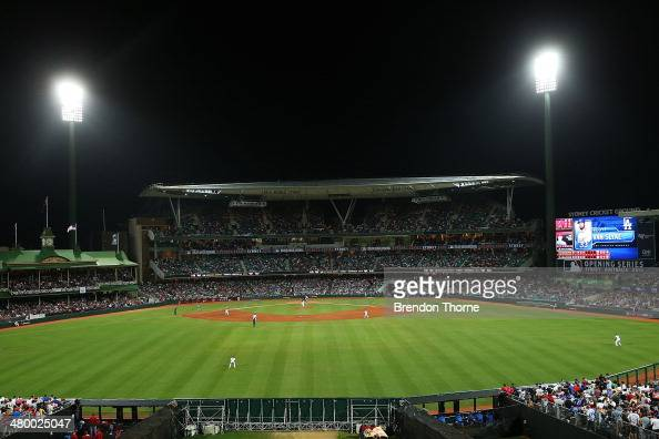 A general view of play during the opening match of the MLB season between the Los Angeles Dodgers and the Arizona Diamondbacks at Sydney Cricket...