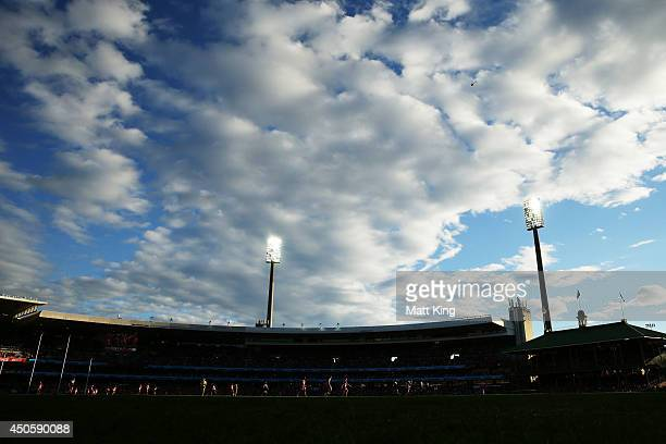 A general view of play during the round 13 AFL match between the Sydney Swans and the Port Adelaide Power at Sydney Cricket Ground on June 14 2014 in...