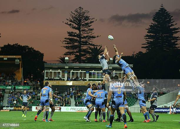 A general view of play during the round 13 Super Rugby match between the Force and the Waratahs at nib Stadium on May 9 2015 in Perth Australia