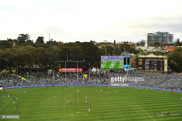 A general view of play during the round 17 AFL match between the Port Adelaide Power and the North Melbourne Kangaroos at Adelaide Oval on July 15...