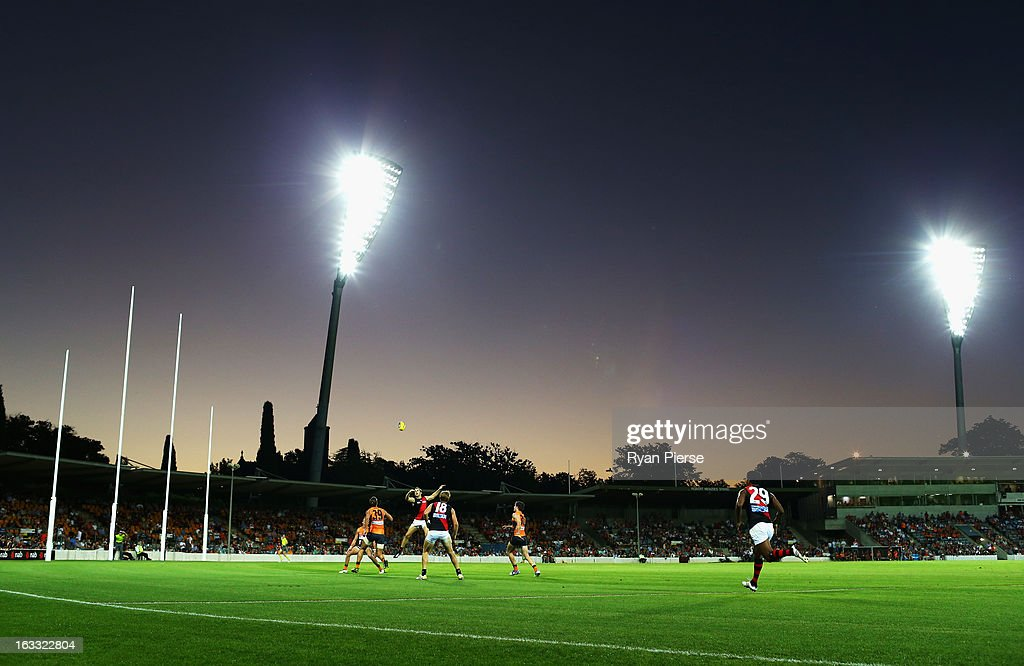 A general view of play during the round three of the NAB Cup AFL match between the Greater Western Sydney Giants and the Essendon Bombers at Manuka Oval on March 8, 2013 in Canberra, Australia.