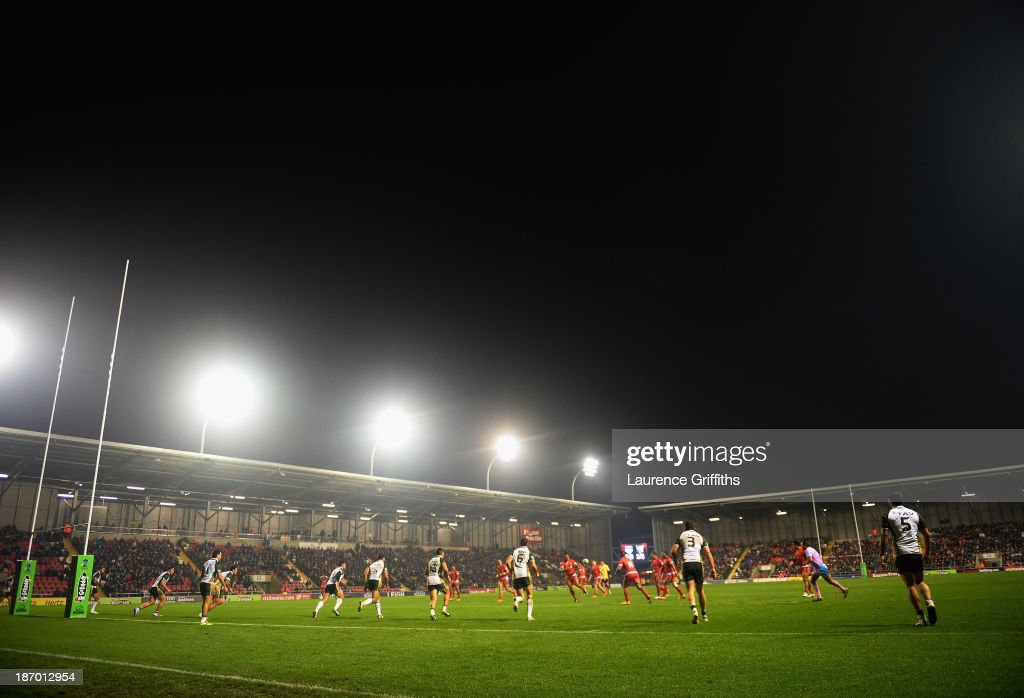 A general view of play during the Rugby League World Cup GroupC/D match between Tonga and Cook Islands at Leigh Sports Village on November 5, 2013 in Leigh, Greater Manchester.