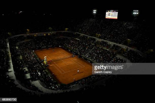 General view of play during the second round match between Andy Murray of Great Britain and Fabio Fognini of Italy in The Internazionali BNL d'Italia...